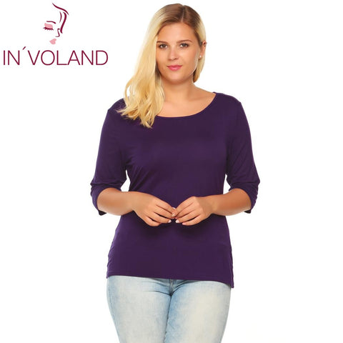 IN'VOLAND Women T-Shirts Top Big Size Autumn Spring Round Collar 3/4 Sleeve Solid Slim Fit Pullover Casual Tshirt Tees Plus Size - Shopper Bytes