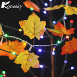 Konesky Colth Maple Leaves Fairy Light Mixed Color Orange Yellow Leaf Autumn String Light 10LED Fall Decoration Battery Operated - Shopper Bytes