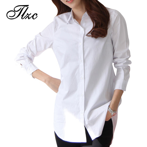 Autumn Spring Women Long White Shirts Size S-3XL All-match Good Quality Long Sleeve Lady Casual Cotton Blouse & Tops - Shopper Bytes