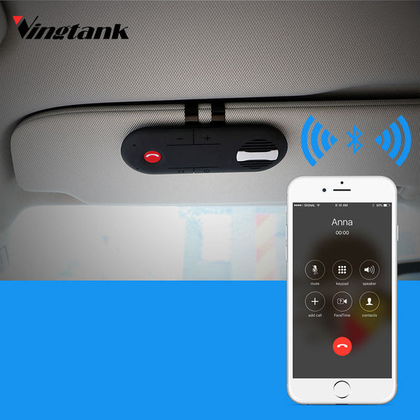 Vingtank Universal Car Bluetooth Speakerphone Hands-free Car Kit Sunvisor Clip Speaker Player usb Car Charger Bluetooth Speaker - Shopper Bytes