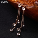 YFJEWE New Fashion Drop Rhinestone Earrings Brief Personality Tassel Long Design Sparkling Crystal Earrings Female Earrings E059 - Shopper Bytes