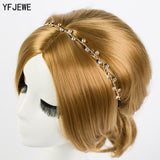 YFJEWE Free Shipping Women Hair Accessories Crystal Chain Charms Head Bands Women Jewelry Wedding Bridal Hair Jewelry H008 - Shopper Bytes