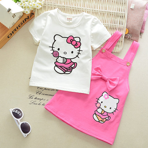 2pcs Girls Dress Cartoon Cat Lovely Princess Kids Dresses for Girls 2017 Summer Toddler Girls Clothing Sets Kids Clothes Z10 - Shopper Bytes