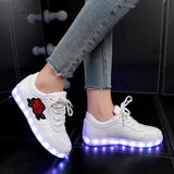 2018 New Size 26-44 Kids Luminous Sneakers for Girls Boys Women Shoes with Light Led Shoes with Flower Glowing Sneakers - Shopper Bytes