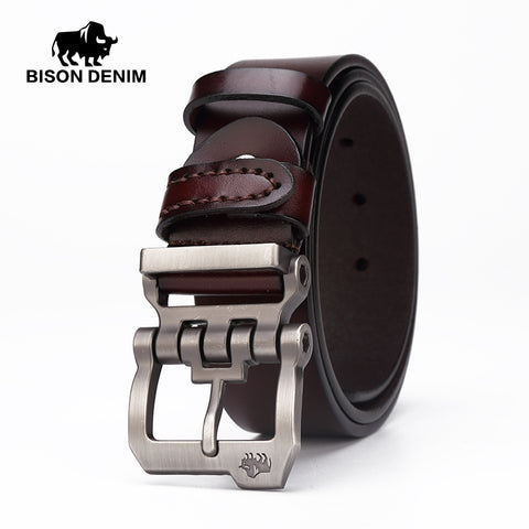 BISON DENIM genuine leather belt for men gift designer belts men's high quality Cowskin Personality buckle,Vintage jeans N71223 - Shopper Bytes