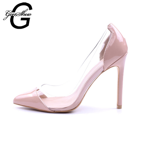 GENSHUO Women Pumps 2018 Transparent 11cm High Heels Sexy Pointed Toe Slip-on Wedding Party Shoes For Lady Size 41 42 Leopard - Shopper Bytes