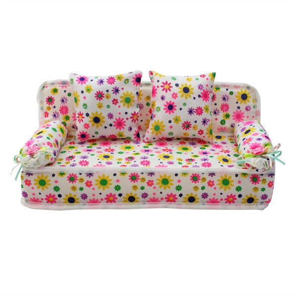 Lovely Miniature Furniture Flower Print Sofa Couch with 2 Cushions for Barbie Flower - Shopper Bytes