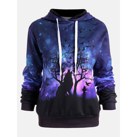 Women Wolf Digital Printing Hoodie Sweater Holloween Baseball Coats Sweats - Shopper Bytes