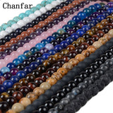 Chanfar 4 6 8 10mm Natural Stone Beads Black Lava Tiger Eye Bulk Loose Stone Beads For DIY Making Bracelet Necklace Jewelry - Shopper Bytes