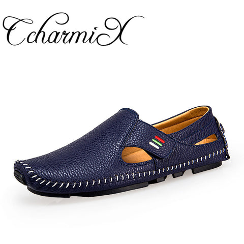 CcharmiX Plus Size 38-47 F Leather Mens Shoe Spring Summer Breath Men Luxury Driving Shoes Slip On Casual Male Loafers - Shopper Bytes
