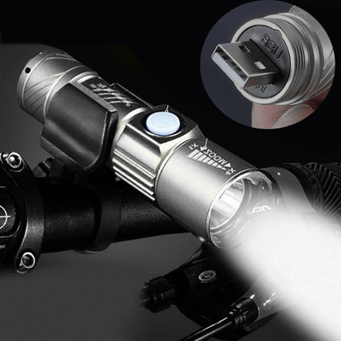 Adjustable LED Zoom 3000LM MINI USB Rechargeable Flashlight Torch Portable - Shopper Bytes