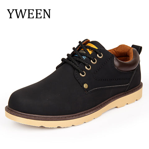 YWEEN Hot Sale Casual Shoes Men Spring Autumn Waterproof Solid Lace-up Man Fashion Flat With Pu Leather Shoe - Shopper Bytes