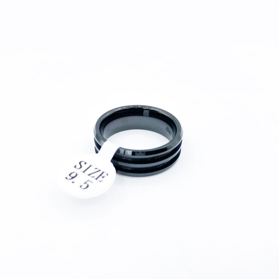 Black Ceramic Double Channel Ring Blanks