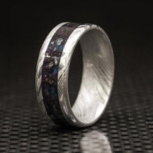 Damascus Steel Ring Blank, Black Pigment Ring