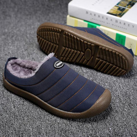 Men Winter Cotton-padded Water-resistant Faux Fur Warm Flat Shoes