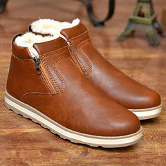 Mens Warm Fur Leather Snow Boots
