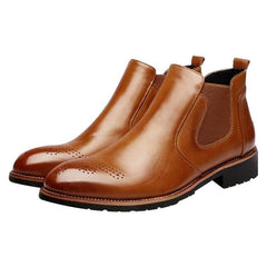 Mens Carved Leather Slip Resistant High Top Slip On Casual Boots