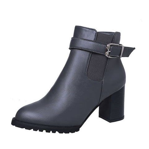 Women's Casual Solid Ankle Heel Boots