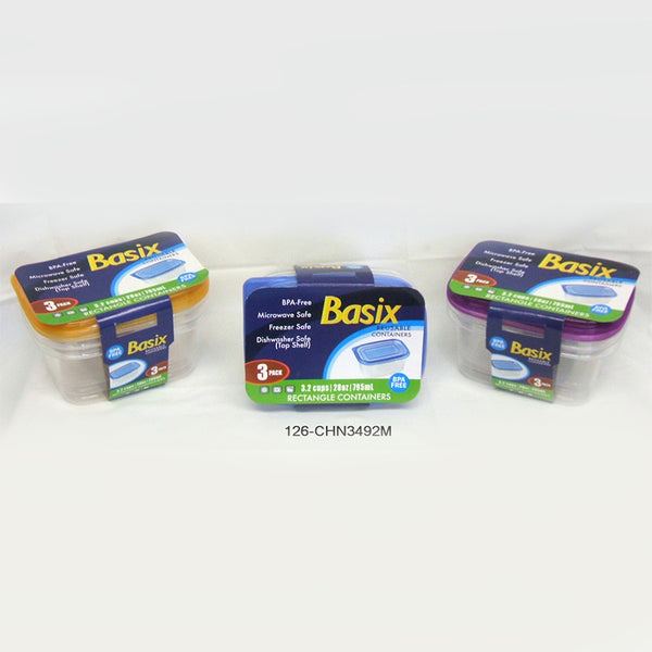 Basix' Storage Container 28oz 3pk - Rectangular (48pc)