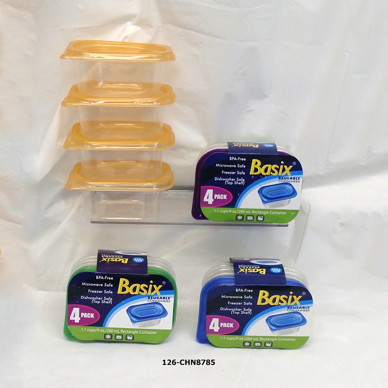 Basix' Storage Container Snack Saver 4pk 9oz (24pc)