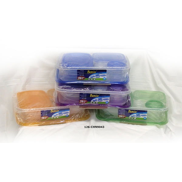 Basix'  Storage Container 26pc  Assorted Colors (12pc)