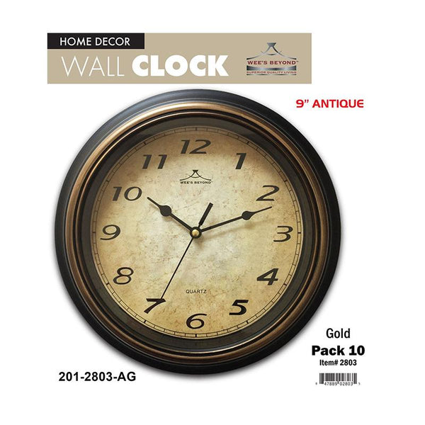 "9.5"" Antique Wall Clock (10pc)"