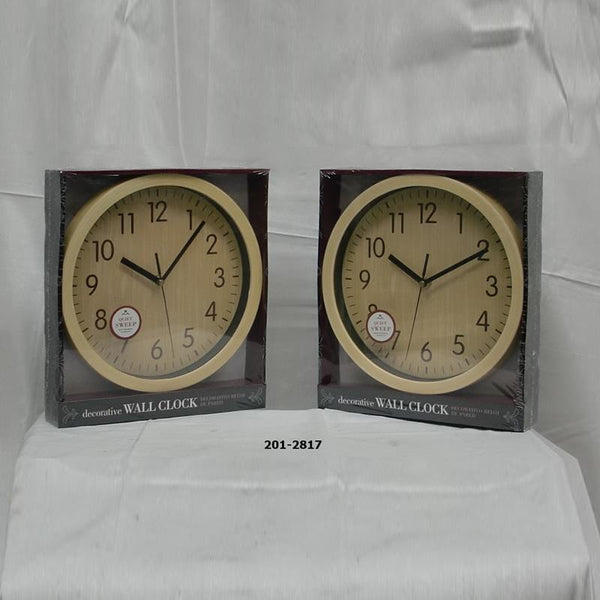"10"" Wood Like Wall Clock (6pc)"