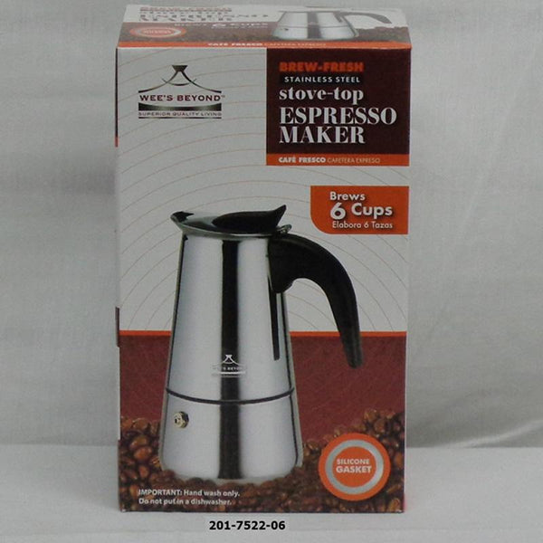 6 Cup S/S Espresso Coffee Maker (12pc) (7526-09)