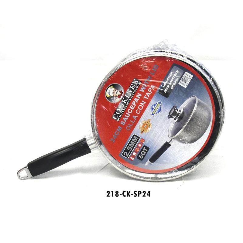 24cm 5Qt. 2.5mm Sauce Pan W/Glass Lid (4pc)