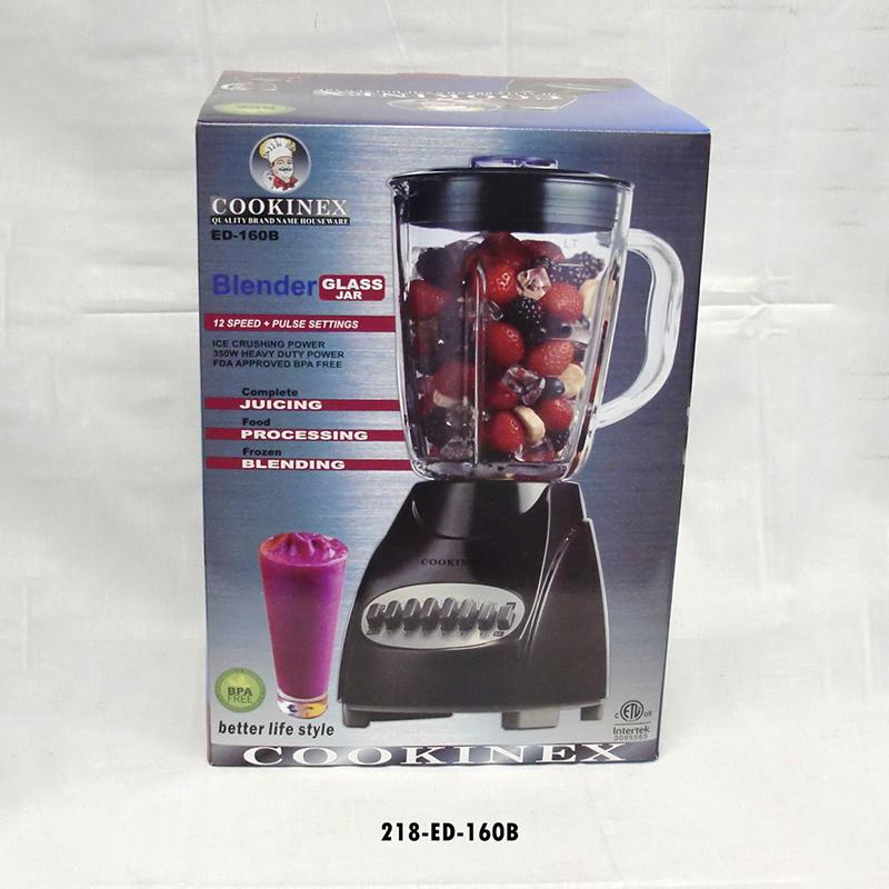 12 Speed Glass Blender - Black (2pc)