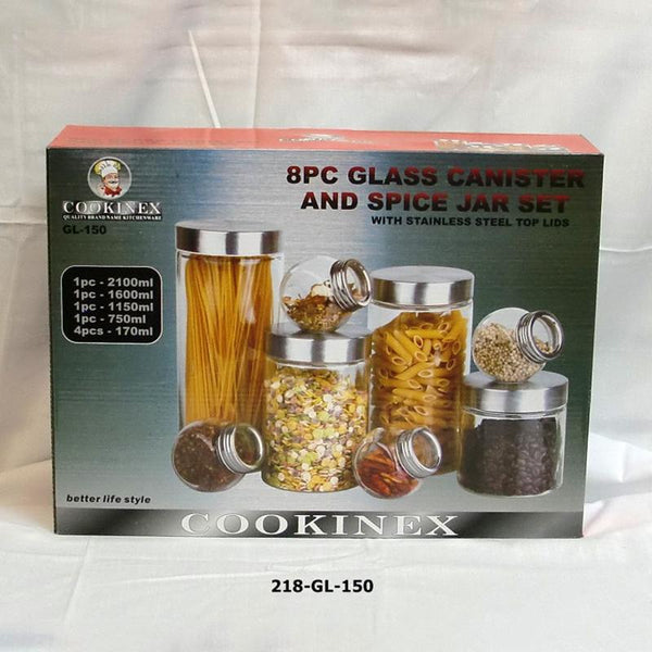 8pc Glass Canister and Spice Jar Set (3pc)