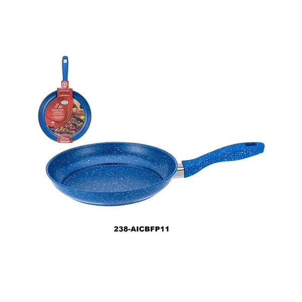 "11"" Fry Pan Carbon Steel Non Stick Coating w/Marble Blue (8pc)"
