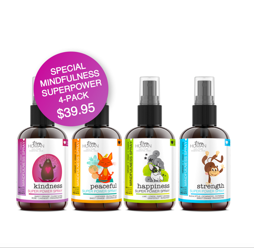 SPECIAL 4-pack of MINDFULNESS SUPERPOWER SPRAYS for KIDS