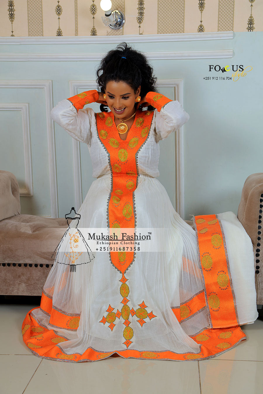 Orange with silver tilf habesha dress 2019