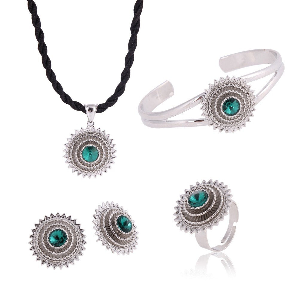 Silver African women bridal jewelry sets