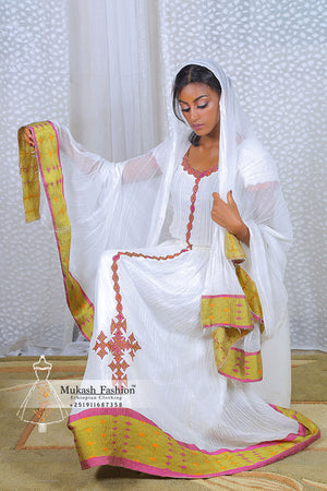 Kechin brown habesha dress