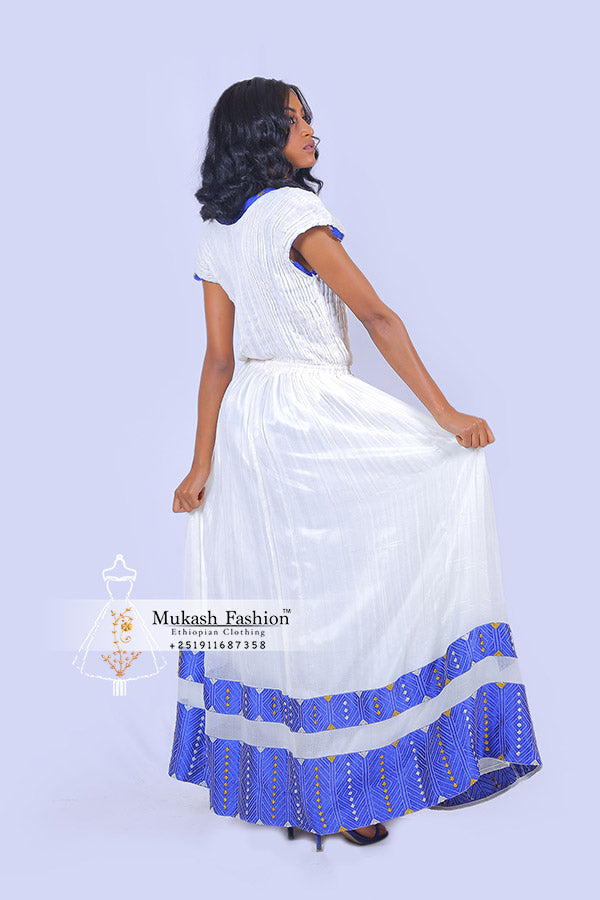 Blue meskel habesha clothing