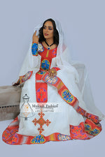 Burgundy habesha traditional dress