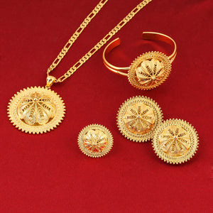 Girls Ethiopian Jewelry Set 24k Gold Color