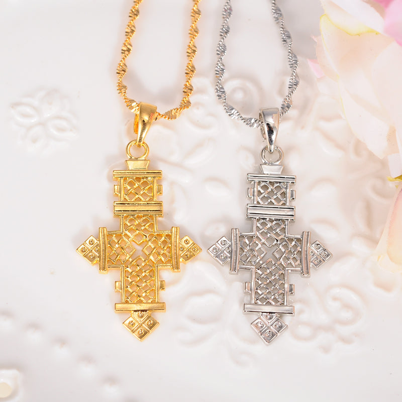Ethiopian Gold/Silver Cross Pendant Necklaces