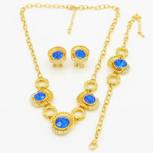 African Bride Jewelry Sets Gold Color Crystal