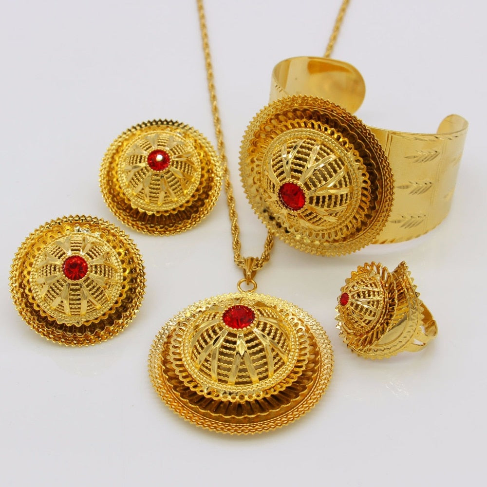 Ethiopian Gold Color Crystal Jewelry Set