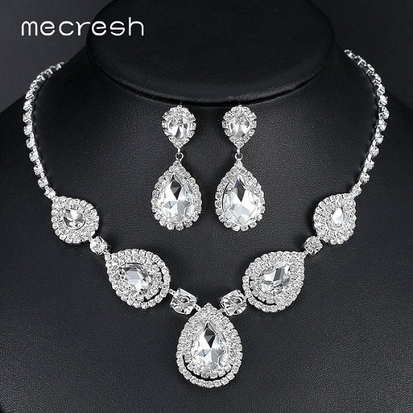 Silver Color Teardrop Bridal Jewelry Sets