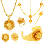 Big Yellow Gold Color Ethiopian hair 6pcs Jewelry Sets