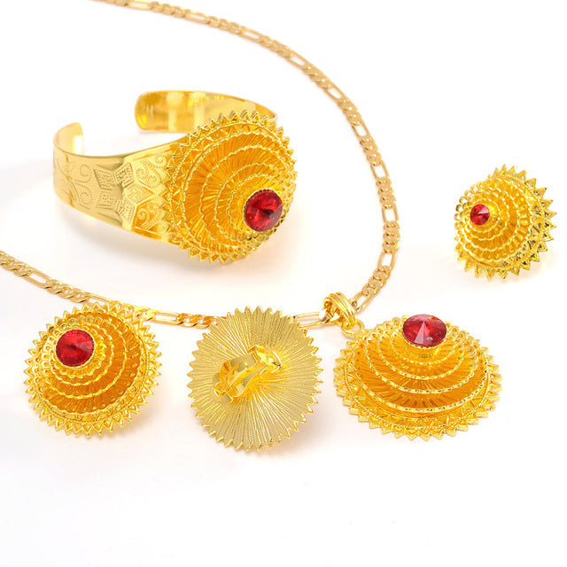 Ethiopian Gold  Hair Pice Pendant Earing Ring Hairchain