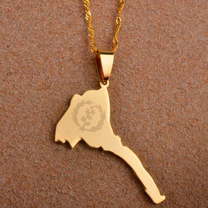 Eritrea Map & Flag Pendant and Thin Necklaces
