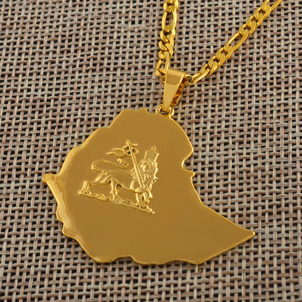 Ethiopian Map Pendant Necklaces Chain Women Men Gold Color