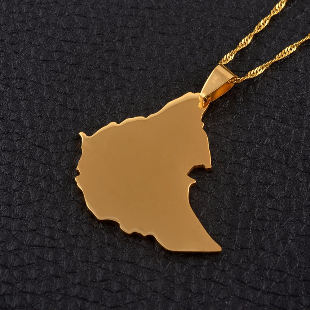 Ethiopia Gold Map Pendant Necklaces for Women