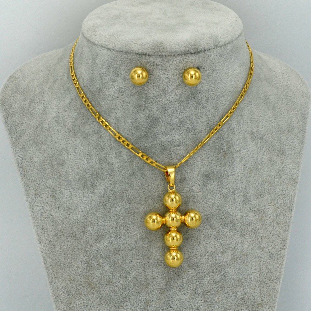 Unique meskel Necklaces and Earrings Women Gold Color