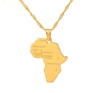 9 Style Africa Map Pendant Necklace for Women Men Silver/Gold Color